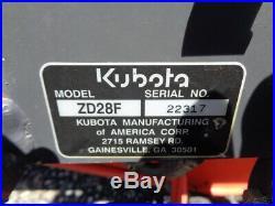 2002 Kubota ZD28 Zero Turn mower, 72 Hydraulic Lift Side Discharge, 1,194 Hours