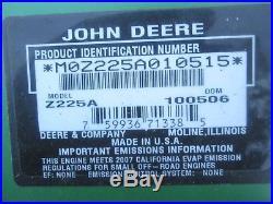 2007 John Deere Z225 zeroturn 42 deck 18.5 HP Briggs JD mower used 550 hrs