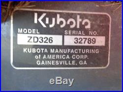 2012 Kubota ZD326 Zero Turn Mower, 60 Commercial Deck, 26HP Diesel, 833 hours