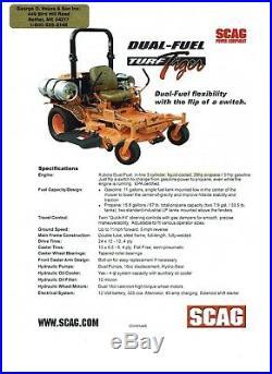 SCAG ZERO TURN MOWER TURF TIGER DUAL FUEL GAS &/or PROPANE