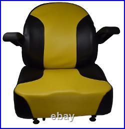 Yellow Zero Turn Mower Seat with Arm Rests and Slides John Deere Cub Cadet Hustler